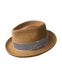 Bailey Of Hollywood Poole Braided Straw Hat With Striped Band Copper