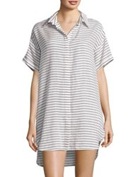 Red Carter Striped Collared Tunic Black White