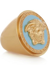 Versace Gold Tone And Enamel Ring Blue