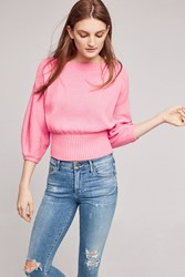 Anthropologie Cropped Balloon Sleeve Pullover Pink