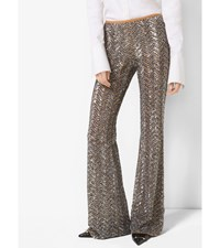 Sequin Embroidered Herringbone Stretch Tulle Trousers