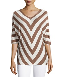 Neiman Marcus Striped Dolman V Neck Tee Brown White