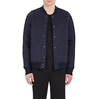 Barneys New York Men's Leather Inset Bonded Jersey Bomber Jacket Navy