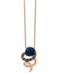 Le Vian Chocolatier Blue Topaz 9 10 Ct. T.W. And Diamond 1 10 Ct. T.W. Swirl Pendant Necklace In 14K Rose Gold