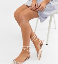 Asos Design Veil Wide Fit Bridal Ballet Flats Pale Pink Beige