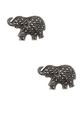 Savvy Cie Marcasite Lucky Elephant Stud Earrings Black