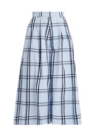 House Of Holland Checked Cotton Wide Leg Culottes Blue