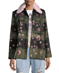 Libertine Crystal Flower Fur Collar Button Front Army Jacket Multi Pattern