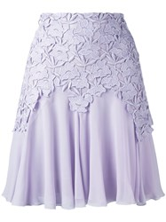 Giambattista Valli Lace Trim Pleated Skirt Pink Purple