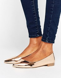 Asos Lost Pointed Ballet Flats Nude Metallic Gold