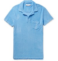 Orlebar Brown Sli Fit Cotton Terry Polo Shirt Light Blue