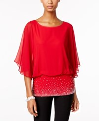 Msk Chiffon Embellished Blouse Red