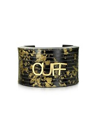 Maison Martin Margiela Mm6 Black And Gold Resin Cuff