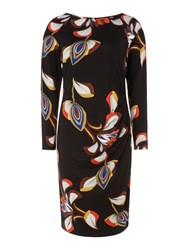 Biba Deco Print Long Sleeve Jersey Dress Multi Coloured Multi Coloured