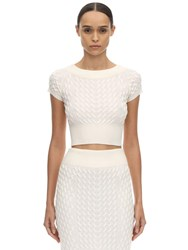 Alexander Mcqueen Off The Shoulder Wool Knit Waved Top Ivory