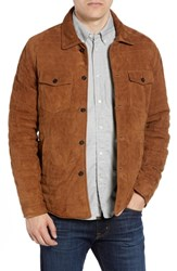 Billy Reid Regular Fit Quilted Suede Shirt Jacket Rubber