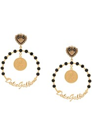 Dolce And Gabbana Votive Motif Clip On Hoop Earrings Gold