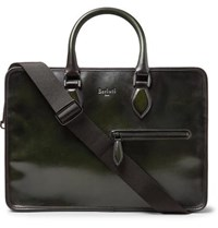 Berluti Un Jour Leather Briefcase Dark Green
