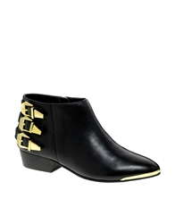 Report Signature Noma Black Buckled Flat Ankle Boots