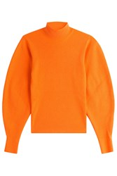 Thierry Mugler Wool Pullover With Voluminous Sleeves Orange