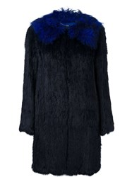 Twin Set Rabbit Fur Coat Blue