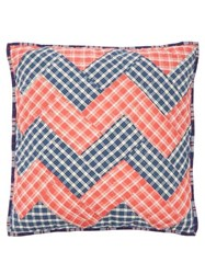 A.P.C. Crescendo Zigzag Patchworked Cotton Cushion Red Multi