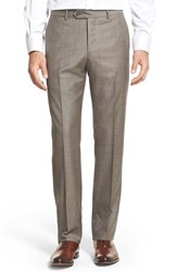 Monte Rosso Men's Flat Front Sharkskin Wool Trousers Taupe