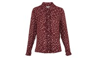 Whistles Giraffe Print Silk Shirt Burgundy