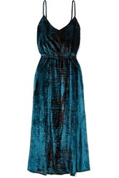 Mes Demoiselles Suzie Tie Dyed Crushed Velvet Midi Dress Navy