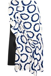 J.W.Anderson Asymmetric Printed Cady And Crepe Midi Skirt White