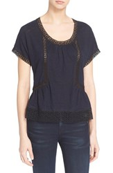Women's Rebecca Taylor Lace Inset Linen Tee