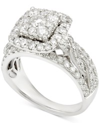 Macy's Diamond Square Cluster Engagement Ring 1 1 2 Ct. T.W. In 14K White Gold