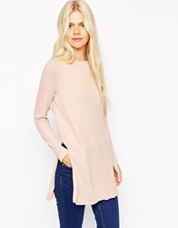 Asos Longline Top With Side Splits And Long Sleeves Newnude