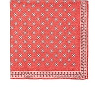 Brunello Cucinelli Geometric And Gingham Print Silk Pocket Square Red
