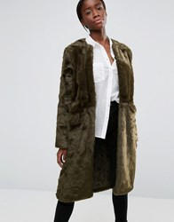 Parka London Evie Luxurious Faux Fur Collarless Coat Olive Green