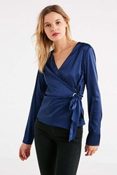 Urban Outfitters Uo Grommet Tie Wrap Top Navy