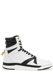 Buscemi 150Mm Monochrome Leather Hi Top Trainers White And Black