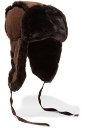 Australia Luxe Collective Raf Shearling Lined Suede Hat Dark Brown