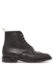 Thom Browne Wingtip Pebbled Leather Brogue Boots Black