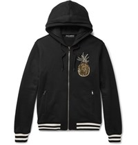 Dolce And Gabbana Embellished Loopback Cotton Jersey Hoodie Black