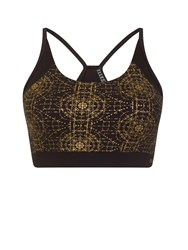 Elle Sport Printed Racer Back Bra With Support Black