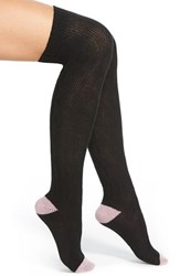 Women's Kensie Cable Knit Over The Knee Socks Black