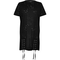 River Island Black Distressed Lace Up Oversized T Shirt