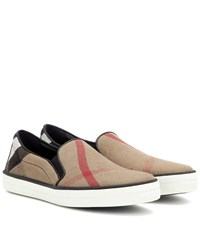 Burberry Gauden Check Leather Trimmed Slip On Sneakers Black