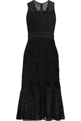 Jonathan Simkhai Crochet Knit Paneled Corded Lace Midi Dress Black