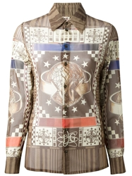 Jean Paul Gaultier Vintage Abstract Print Shirt Brown