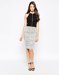 Oh My Love Midi Skirt In Jacquard Knit Grey