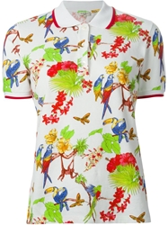Etro Tropical Print Polo Shirt White