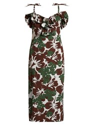 Rosie Assoulin Blooming Onion Tropical Print Stretch Cotton Dress Brown Multi
