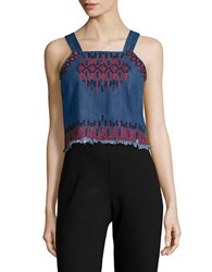 Blank Nyc Embroidered Denim Cropped Top Wild Ones